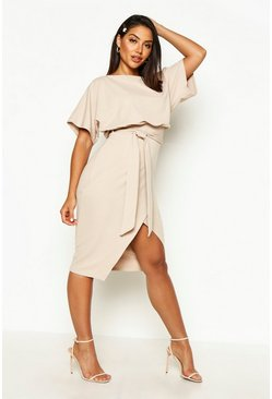 Dam Stone Slash Neck Tie Waist Midi Dress