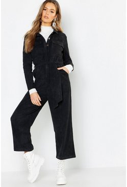 Womens Black Cord Utility Pocket Jumpsuit