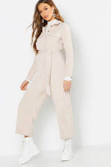Womens Stone Cord Utility Pocket Jumpsuit