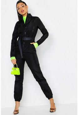Womens Black Shell Suit Safety Buckle Jumpsuit