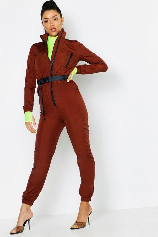 Shell Suit Safety Buckle Jumpsuit, Chocolate, Donna