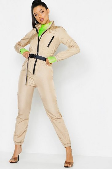 Womens Stone Shell Suit Safety Buckle Jumpsuit
