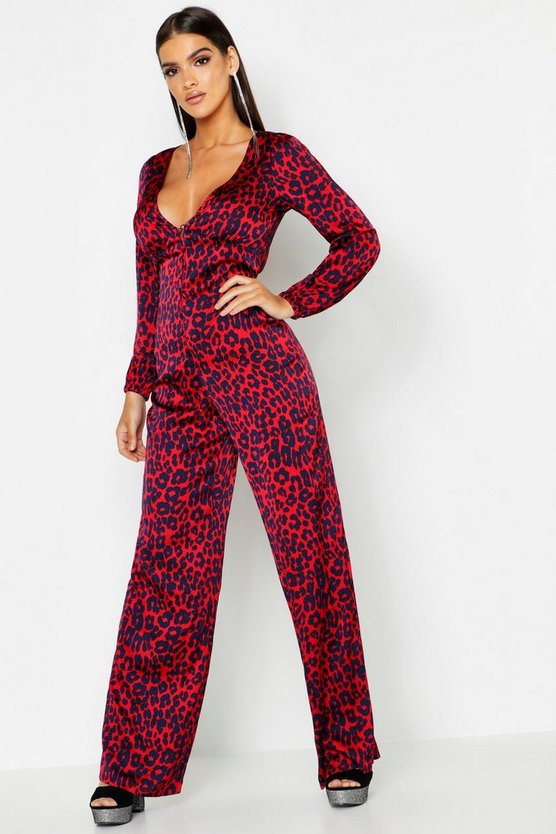 Womens Red Leopard Satin Button Jumpsuit