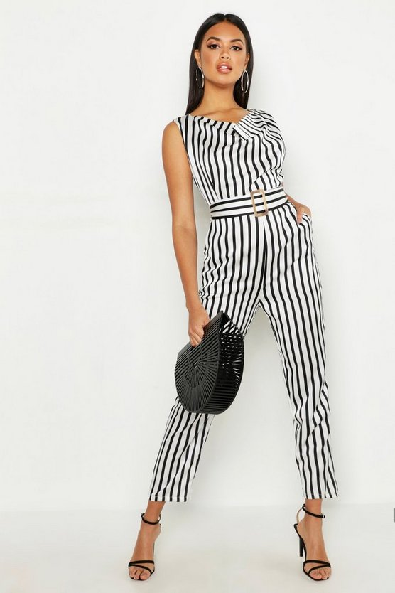 Womens Black Stripe Cowl Belted Jumpsuit