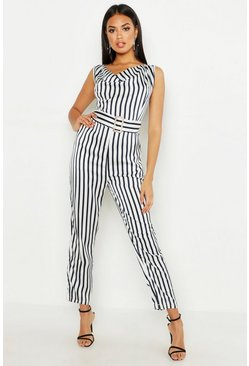 Womens Navy Stripe Cowl Belted Jumpsuit