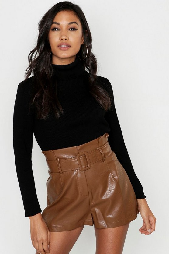 Womens Brown Leather Look Belted Shorts
