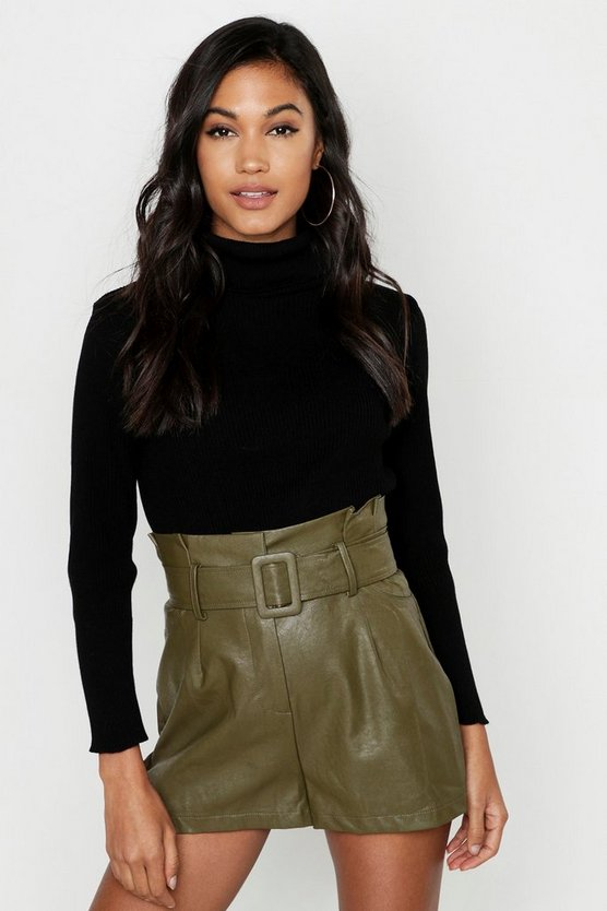Khaki Leather Look Belted Shorts