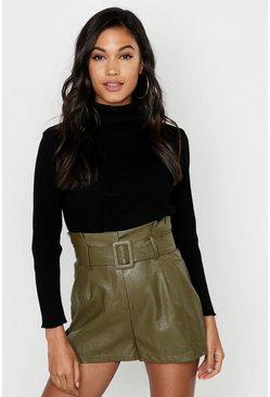 Womens Khaki Leather Look Belted Shorts