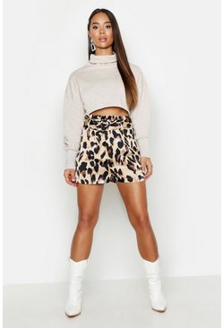 Leopard Satin Belted Shorts, Tan, Donna