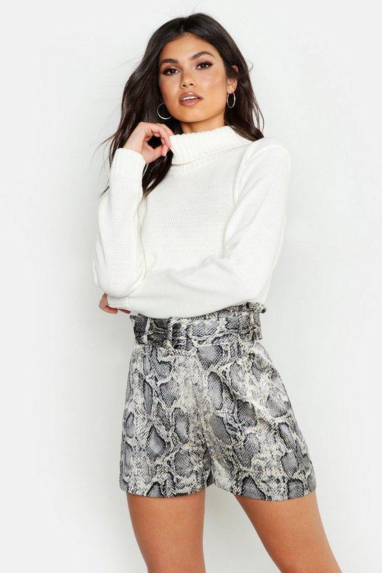 Womens Grey Snake Satin Belted Shorts