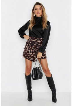 Womens Brown Leopard Cord Wrap Button Lightweight Skort