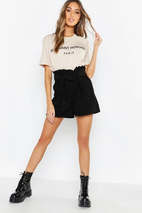 Womens Black Cord Belted Paperbag Shorts