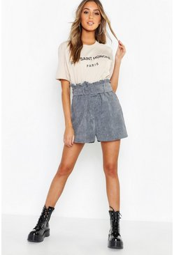 Womens Denim Cord Belted Paperbag Shorts
