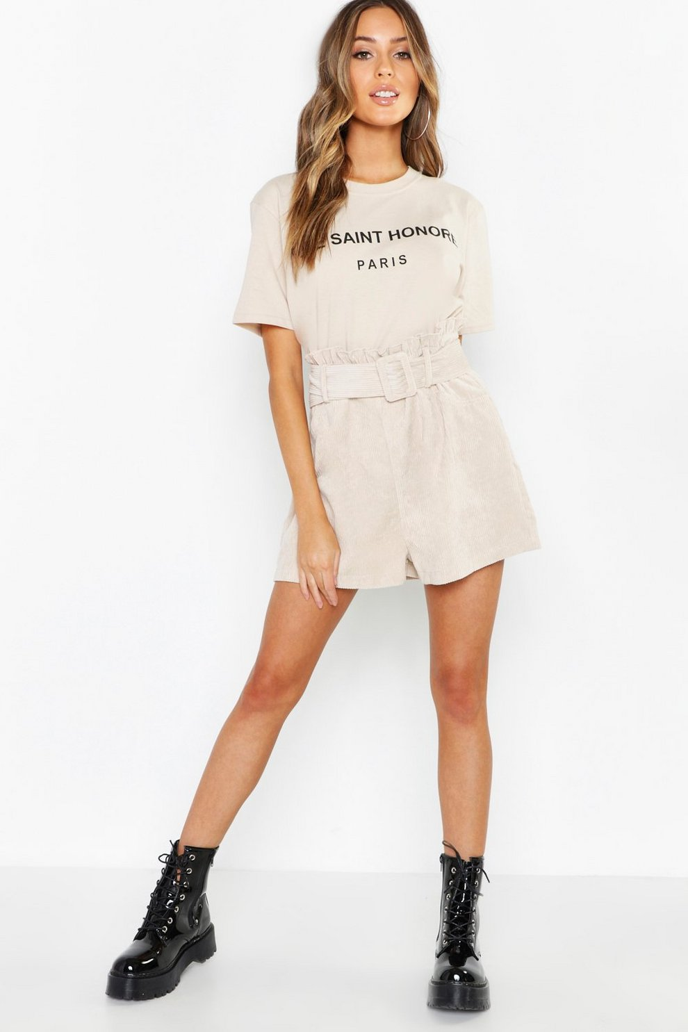 229f5f04f032 Cord Belted Paperbag Shorts | Boohoo