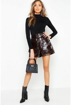 Chocolate Snake Print Leather Look Belted Pocket Shorts