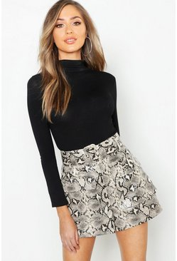 Sand Snake Print Leather Look Belted Pocket Shorts