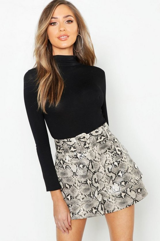 Snake Print Leather Look Belted Pocket Shorts