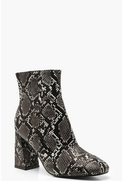 Womens Grey Snake Block Heel Shoe Boots