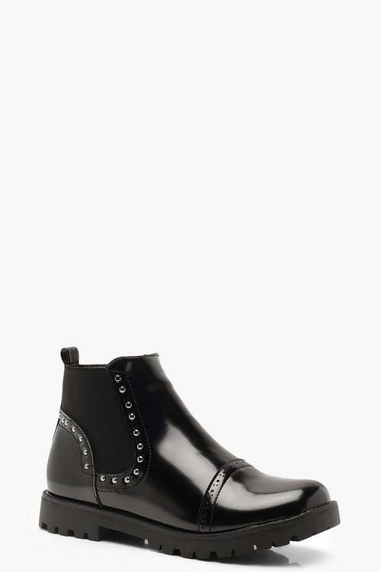 Brogue Style Studded Chelsea Boots