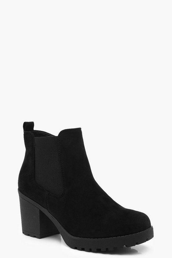 Womens Black Chunky Heel Chelsea Boots
