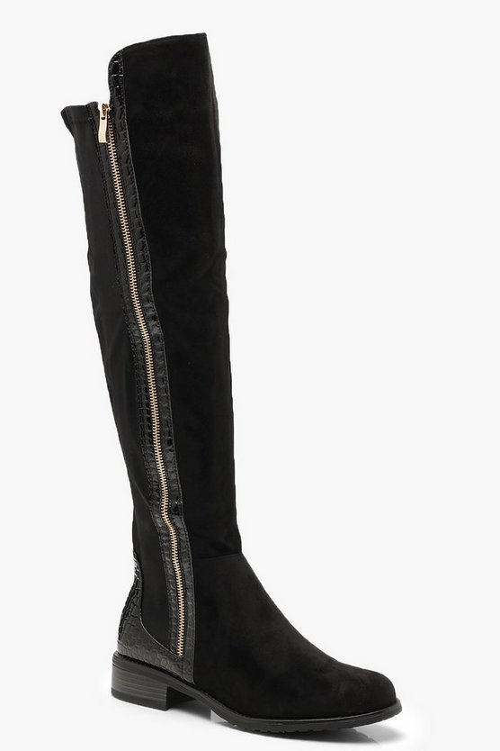 Black Croc Panel Over The Knee Boots