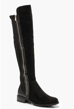 Womens Black Croc Panel Over The Knee Boots
