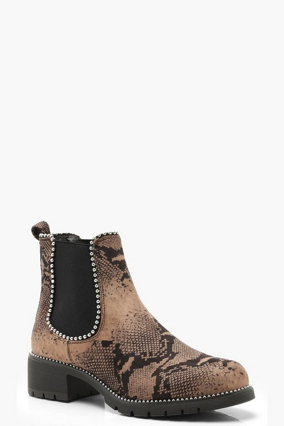 Womens Brown Snake Print Chunky Chelsea Boots