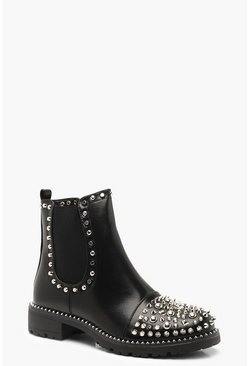 Womens Black Studded Chunky Chelsea Boots