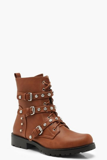 Womens Tan Studded Buckle Detail Biker Boots
