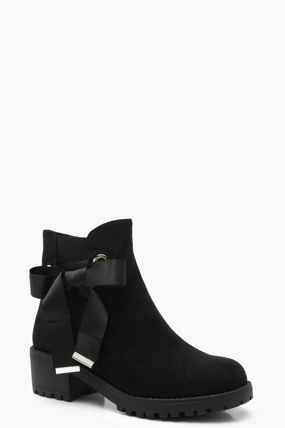 Ribbon Tie Chunky Chelsea Boots