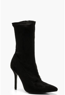 Womens Black Zip Up Stiletto Heel Sock Boots