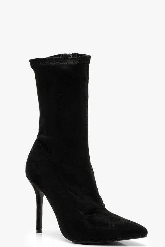Zip Up Stiletto Heel Sock Boots