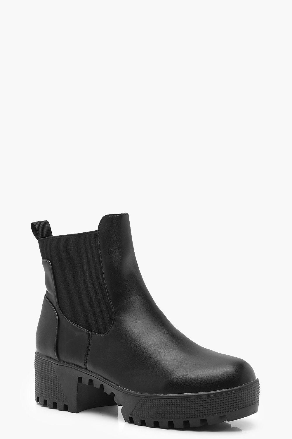 cbe146ad8d4b Womens Black Chunky Sole Chelsea Boots. Hover to zoom