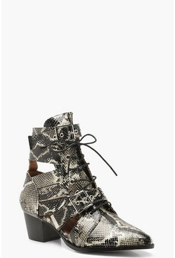 Womens Grey Snake Cutwork Western Boots