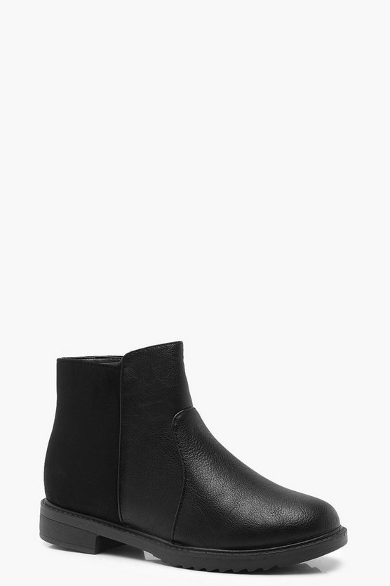 Mixed Material Chelsea Boots