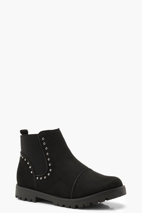 Black Brogue Style Studded Chelsea Boots