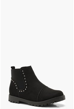 Womens Black Brogue Style Studded Chelsea Boots