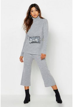 Womens Silver Roll Neck Culotte Knitted Set