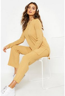 Womens Camel Wide Leg Pants Knitted Set