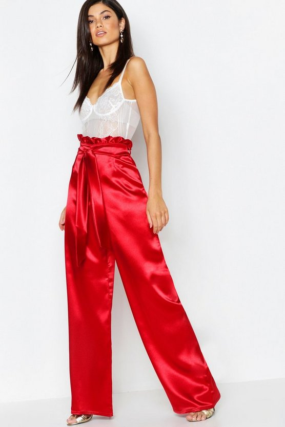 Womens Red Textured Satin Paperbag Wide Leg Trouser
