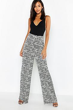 Leopard Satin Wide Leg Pants
