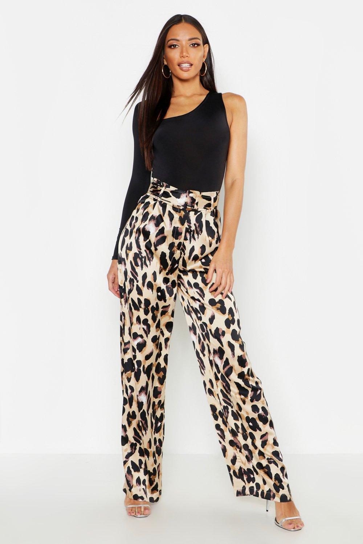 Satin Leopard Belted Wide Leg Trousers