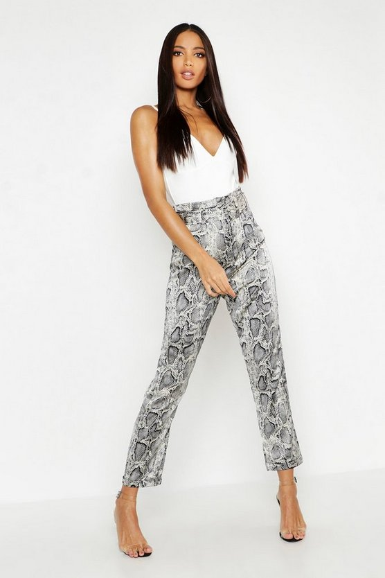 Womens Grey Satin Snake Belted Peg Trousers