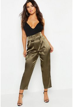 Womens Khaki Heavy Satin Belted Paperbag Pants