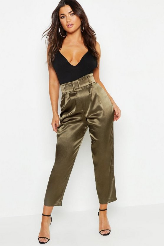 Womens Khaki Heavy Satin Belted Paperbag Trousers
