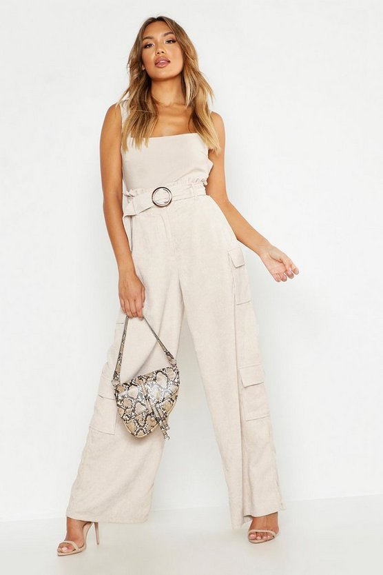 Cord Paperbag Wide Leg Cargo Trouser