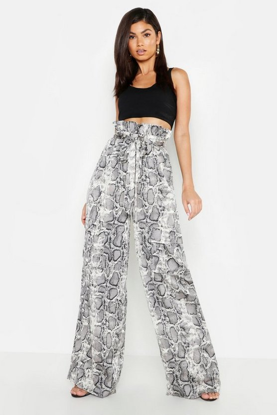 Grey Satin Snake Paper Bag Wide Cargo Trousers