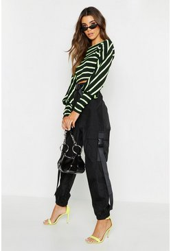 Womens Black High Waist Shell Cargo Buckle Pants