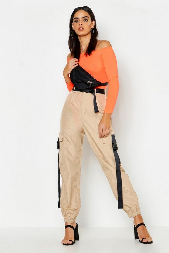 Womens Stone High Waist Shell Cargo Buckle Trousers