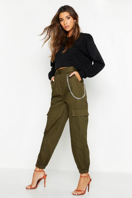 Womens Khaki Chain Trim Pocket Cargo Trousers